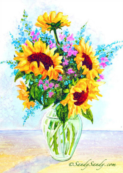 Sunflowers In A Vase Painting For Sale By Sandy Sandy Sandy Sandy