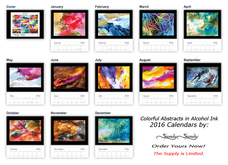 Calendar Abstract Art : Wall calendars featuringpaintings by spiritartist